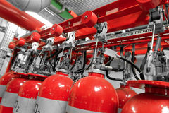Large CO2 fire extinguishers in a power plant Stock Photography