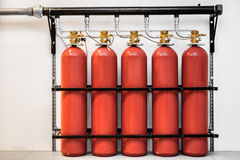 Large CO2 fire extinguishers Stock Image