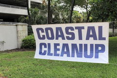 Large Coastal Cleanup Sign Royalty Free Stock Photography