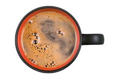 Large coffee cup. Top view isolated with clipping path Stock Photos