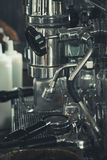 Coffee machine in vintage coffee shop. stock photo