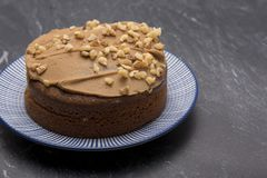 Large coffee and walnut cake Royalty Free Stock Photography