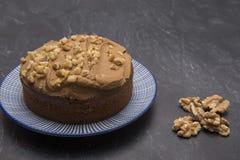 Large coffee and walnut cake Stock Photo