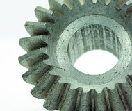 Large cog wheels in the motor. Accuracy,blue,circle  ,classic,close ,cog,cogwheel Royalty Free Stock Photography