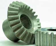 Large cog wheels in the motor Royalty Free Stock Images