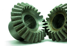Large cog wheels in the motor. Accuracy,blue,circle,classic,close,cog,cogwheel  ,connection ,cooperation ,electric ,engine  ,engineering Stock Images