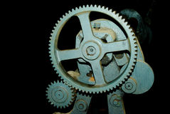 Large cog wheels in the motor. Large,wheels,motor,gear,roller,rolling the metal Royalty Free Stock Image