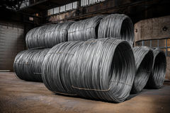 Large coil of Aluminum wire Stock Image