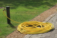 Large coiled yellow hose pipe. Attached to a tap on a path next to a freshly mowed lawn symbolizing watering the garden and plants and hose pipe bans royalty free stock images