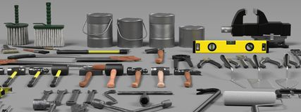 Large colection of tools Stock Photos