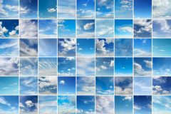 Large collage with clouds - cumulus, cirrus, rain, clear sky Stock Image