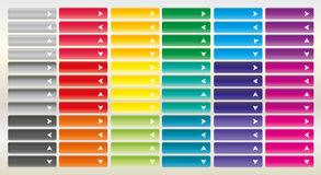 Large collection of bright web buttons with arrow. Combination o Stock Image