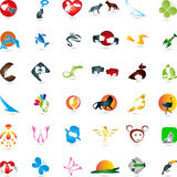Large collection, collection of animals, animal logos. Large collection of animals, animal logos collection Royalty Free Stock Images