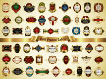 Large collection of colorful gold-framed labels in vintage style Royalty Free Stock Photography
