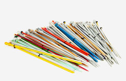 Large Collection of Colorful Paired Knitting Needles Royalty Free Stock Photo