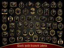 Large collection of dark gold-framed labels in vintage style Stock Photos