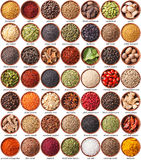 Large collection of different spices and herbs Royalty Free Stock Photo