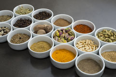 Large collection of different spices and herbs isolated on Black Royalty Free Stock Images