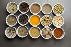 Large collection of different spices and herbs isolated on Black Royalty Free Stock Photos