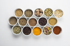Large collection of different spices and herbs isolated on white Stock Photo