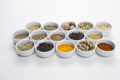 Large collection of different spices and herbs isolated on white Royalty Free Stock Image