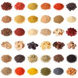 Large collection of different spices, herbs, nuts, dried fruits, stock photography