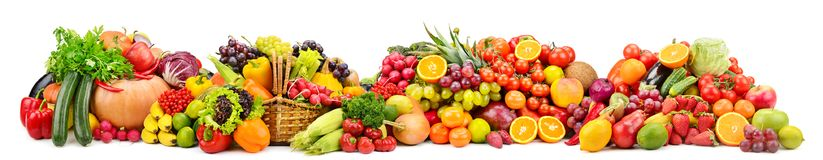 Large collection fresh fruits and vegetables useful for health i. Solated on white background stock photos