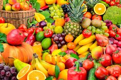 Large collection of fruits and vegetables. Healthy foods Royalty Free Stock Images