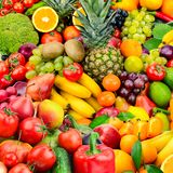 Large collection fruits and vegetables. Healthy foods. Stock Image