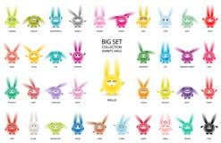Rabbits with narrow eyes set multicolor vector illustration