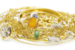 Large collection of gold jewellery Royalty Free Stock Photo