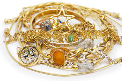 Large collection of gold jewellery Royalty Free Stock Images