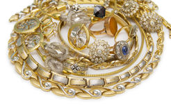 Large collection of gold jewellery Royalty Free Stock Image