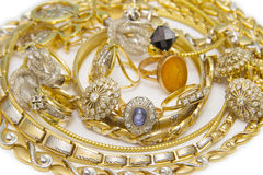 Large collection of gold jewellery Stock Photography