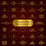 Large collection of golden ornate calligraphic design elements - vector set Stock Photo