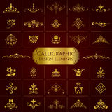 Large collection of golden ornate calligraphic design elements - vector set Royalty Free Stock Image