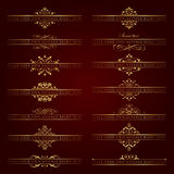 Large collection of golden ornate headpieces - vector set Royalty Free Stock Photos