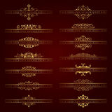 Large collection of golden ornate headpieces - vector set Royalty Free Stock Photo