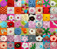 A large collection of hand-knitted items. Flowers, animals, beads Royalty Free Stock Image