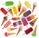 Large collection of ice cream and lollies. Flat lay view of many icecream, ice lollies and popsicles as a collection over a white background Royalty Free Stock Photos