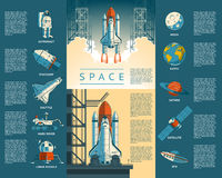 Large collection icons of space Royalty Free Stock Photo