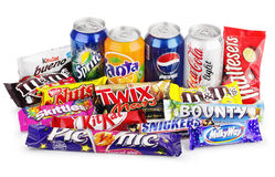 Large collection of junk food Stock Photography