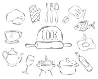 Large collection of line icons in hand drawn style for the profession of cook. Vector Royalty Free Stock Image