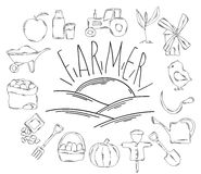 Large collection of line icons in hand drawn style for the profession of farmer. Vector Stock Images