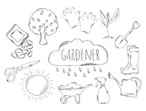 Large collection of line icons in hand drawn style for the profession of gardener. Vector Stock Image