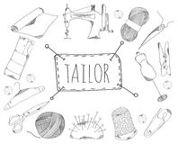 Large collection of line icons in hand drawn style for the profession of tailor. Vector Royalty Free Stock Image