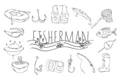 A large collection of linear manual icons for fishing. Vector Royalty Free Stock Photography