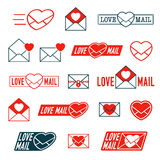 Large collection of Love, Mail and Envelope icons. Large collection of Love, Mail and Envelope Heart icons for romantic Valentines, dating or anniversary Royalty Free Stock Photo