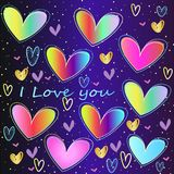 Large collection of neon hearts on a pattern background. A large collection of neon, colored rainbow hearts on Valentine`s Day Royalty Free Stock Photos