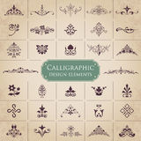 Large collection of ornate calligraphic design elements - vector set Stock Photo